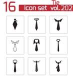 Wektorowe czarny krawat ikony ustawiać Zdjęcia Stock