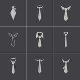 Wektorowe czarny krawat ikony ustawiać Fotografia Royalty Free