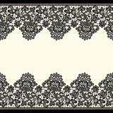 Wektorowe czerni koronki granicy bezszwowy wzoru Obrazy Royalty Free
