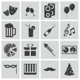Wektorowe czerni przyjęcia ikony Fotografia Stock