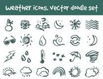 Wektorowe doodle pogody ikony ustawiać Zdjęcia Royalty Free