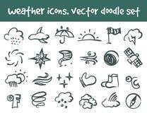 Wektorowe doodle pogody ikony ustawiać Zdjęcie Royalty Free