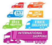 Wektorowe doręczeniowej usługa etykietki, handlowi pojazdy i dostawa, Obrazy Royalty Free