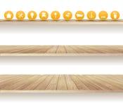 Wektorowe drewniane półki odizolowywać na białym tle ilustracja wektor