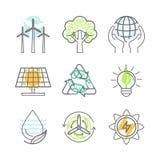 Wektorowe ekologii ikony royalty ilustracja