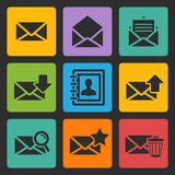 Wektorowe emaila czerni ikony ustawiać Obrazy Royalty Free