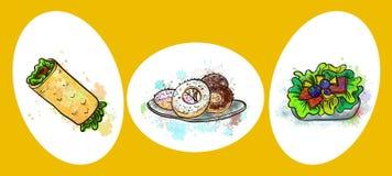 Wektorowe fast food sałatki, inny i royalty ilustracja
