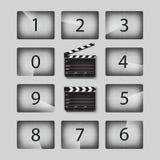 Wektorowe filmu odliczanie liczby ustawiają z clapperboards w różnych pozycjach royalty ilustracja