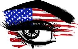 Wektorowe flaga usa w pięknym żeńskim oku ilustracja wektor