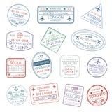 Wektorowe ikony światowy podróży miasta paszport stemplują ilustracji