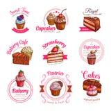 Wektorowe ikony ciasto deserowi torty babeczki i royalty ilustracja