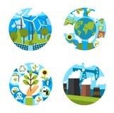 Wektorowe ikony dla zielonej natury środowiska ekologii royalty ilustracja