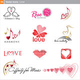 Wektorowe ikony: miłość Fotografia Royalty Free