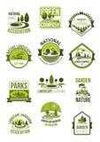 Wektorowe ikony natura kształtują teren firmy i zielenieją ilustracja wektor