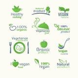 Wektorowe ikony organicznie naturalni jedzenia, weganinu i jarosza znaki, ilustracji