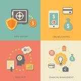 Wektorowe ikony pieniężne analityka, online Zdjęcia Stock