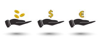 Wektorowe ikony ręki z pieniądze 3 d piękną waluty euro formie wymiany międzywymiarowej ilustracja 3 bardzo ilustracja wektor