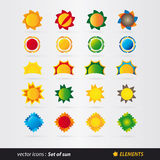 Set słońce wektor Zdjęcia Stock