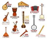 Wektorowe ikony ustawiać dla muzyka na żywo festiwalu koncerta royalty ilustracja