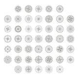 Wektorowe ikony z kompasem wzrastali Ilustracja Wektor