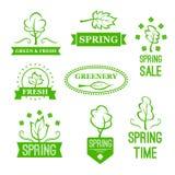 Wektorowe ikony zieleni natur drzewa dla wiosny sprzedaży royalty ilustracja