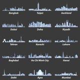 Wektorowe ilustracje azjatykcie miasto linie horyzontu w miękkiej błękitnej kolor palecie Zdjęcia Royalty Free