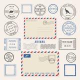 Wektorowe ilustracje listy i postmarks, airmail projekty Antykwarscy znaczki royalty ilustracja