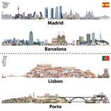 Wektorowe ilustracje Madryt, Barcelona, Lisbon i Porto miasto, linie horyzontu Mapy i flaga Hiszpania i Portugalia royalty ilustracja