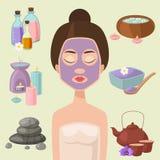 Wektorowe ilustracje piękny kobieta zdroju traktowanie, piękno procedur wellness ikony ilustracji