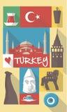 Wektorowe ilustracje sławni kulturalni symbole indyczy Istanbul na pocztówce lub plakacie Obraz Royalty Free