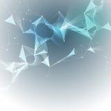 Wektorowe Ilustracyjne Abstrakcjonistyczne molekuły i 3D siatka z okręgami, linie, wielobok kształtują Fotografia Royalty Free