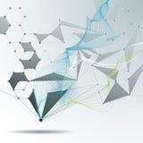Wektorowe Ilustracyjne Abstrakcjonistyczne molekuły i 3D siatka z okręgami, linie, wielobok kształtują Obrazy Royalty Free