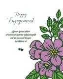 Wektorowe ilustracyjne okwitnięcie purpury kwitną ramę z kartką z pozdrowieniami szczęśliwy zobowiązanie ilustracji