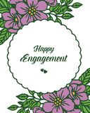 Wektorowe ilustracyjne okwitnięcie purpury kwitną ramę z kartką z pozdrowieniami szczęśliwy zobowiązanie ilustracja wektor