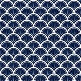 Wektorowe Japońskie fale z liniami na błękitnym tle powtarzają bezszwowego wzór royalty ilustracja