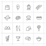 Wektorowe karmowe ikony ustawiać Zdjęcia Royalty Free
