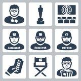 Wektorowe kina i filmowania ikony ustawiać ilustracji