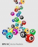 Wektorowe Kolorowe Bingo piłki spadają przypadkowo royalty ilustracja