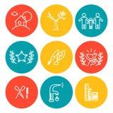 Wektorowe kolorowe ikony ustawiać na białym tle Płaski ikona set, logo, insygnia, symbol, gatunek Ilustracji