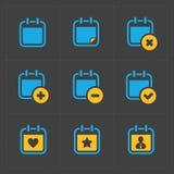 Wektorowe Kolorowe Kalendarzowe ikony na zmroku Obraz Royalty Free