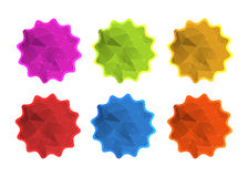 Wektorowe kolorowe poligonalne etykietka majcheru ikony w czerwieni, błękit, pomarańcze, kolor żółty, zieleń, purpura Zdjęcie Royalty Free