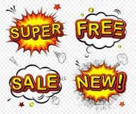 Wektorowe komiczne odznaki, sprzedaż, nowy -, i Obraz Royalty Free