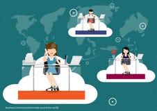 Wektorowe komunikacje biznesowe dookoła świata, handlujący płaskiego projekt royalty ilustracja