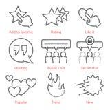 Wektorowe kontur ikony ustawiać z ogólnospołecznymi medialnymi symbolami dla infographics UX i wiszącej ozdoby Obrazy Royalty Free