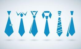 Wektorowe kreatywnie błękitne krawat ikony ustawiać Fotografia Stock