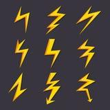 Wektorowe kreskówek ilustracje błyskawica set odizolowywają Stylizowani obrazki dla loga projekta ilustracji