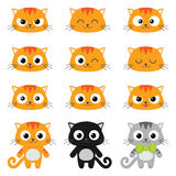 Wektorowe kreskówka kota emocje Fotografia Royalty Free