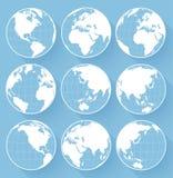 Wektorowe kuli ziemskiej ziemi ikony na błękitnym tle Zdjęcie Stock