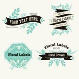 Wektorowe kwieciste logo odznaki, etykietki i Zdjęcia Royalty Free