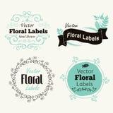 Wektorowe kwieciste logo odznaki, etykietki i Fotografia Royalty Free